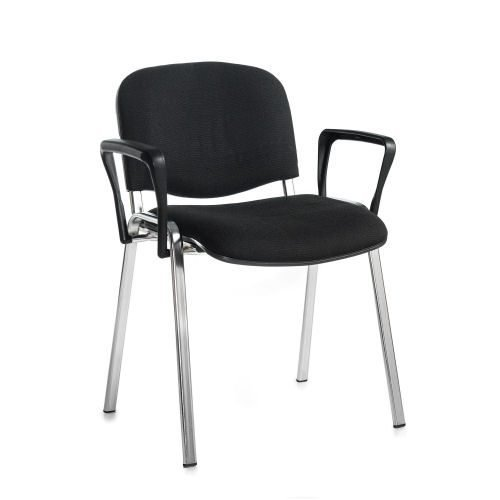 Taurus meeting room stackable arm chair with chrome-frame and fixed arms Black DAMS TAU40006-K | Conference Chair | Fusion Office