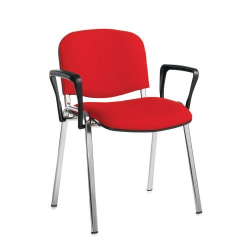 Taurus meeting room stackable arm chair with chrome-frame and fixed arms Red DAMS TAU40006-R | Conference Chair | Fusion Office