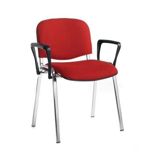 Taurus meeting room stackable arm chair with chrome-frame and fixed arms Burgundy DAMS TAU40006-BU | Conference Chair | Fusion Office