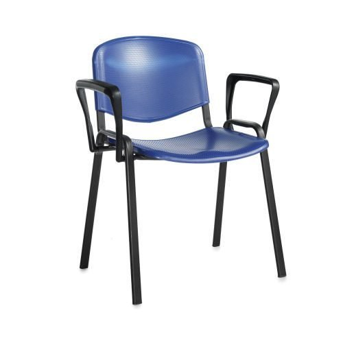 Taurus plastic meeting room stackable arm chair Blue with black frame DAMS TAU40003-PB   Stackable   Fusion Office - Andover
