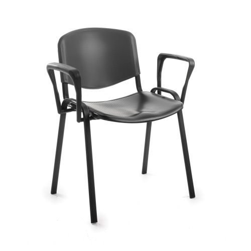 Taurus plastic meeting room stackable arm chair Black with black frame DAMS TAU40003-PK   Stackable   Fusion Office