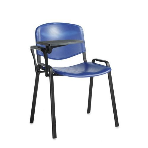 Taurus meeting room chair with black frame and writing tablet Blue Plastic DAMS TAU40004-PB | Great for lectures | Fusion Office