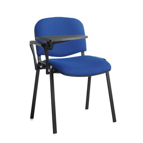 Taurus meeting room chair with black frame and writing tablet Blue DAMS TAU40004-B | Great for lectures | Fusion Office