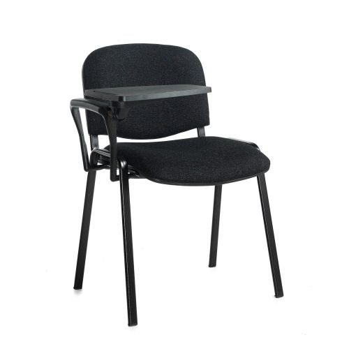 Taurus meeting room chair with black frame and writing tablet Charcoal DAMS TAU40004-C | Great for lectures | Fusion Office