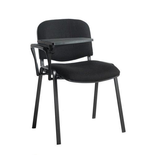 Taurus meeting room chair with black frame and writing tablet Black DAMS TAU40004-K   Great for lectures   Fusion Office