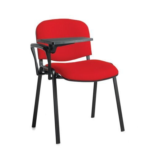 Taurus meeting room chair with black frame and writing tablet Red DAMS TAU40004-R | Great for lectures | Fusion Office