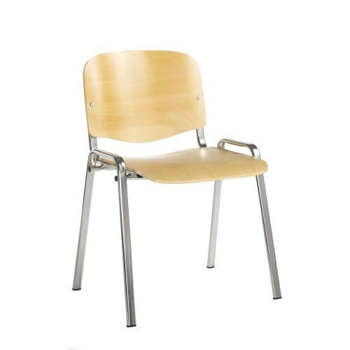 Taurus wooden meeting room stackable chair with no arms Beech with chrome frame DAMS TAU40005-W | Fusion Office