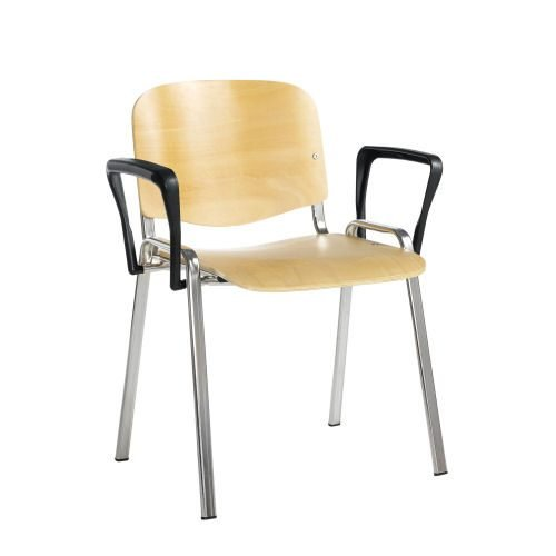Taurus meeting room stackable arm chair with chrome-frame and fixed arms Beech DAMS TAU40006-W   Conference Chair   Fusion Office