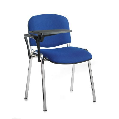 Taurus meeting room chair with chrome-frame and writing tablet Blue DAMS TAU40007-B   Great for lectures   Fusion Office