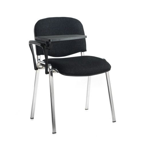 Taurus meeting room chair with chrome-frame and writing tablet Charcoal DAMS TAU40007-C | Great for lectures | Fusion Office