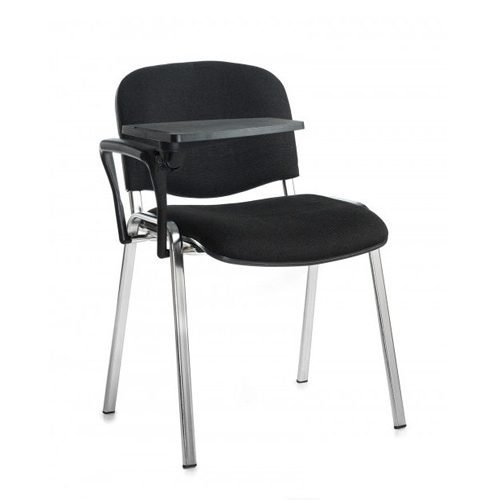 Taurus meeting room chair with chrome-frame and writing tablet Black DAMS TAU40007-K | Great for lectures | Fusion Office