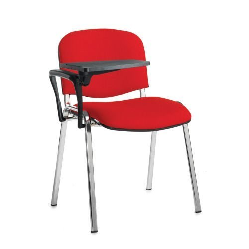 Taurus meeting room chair with chrome-frame and writing tablet Red DAMS TAU40007-R | Great for lectures | Fusion Office