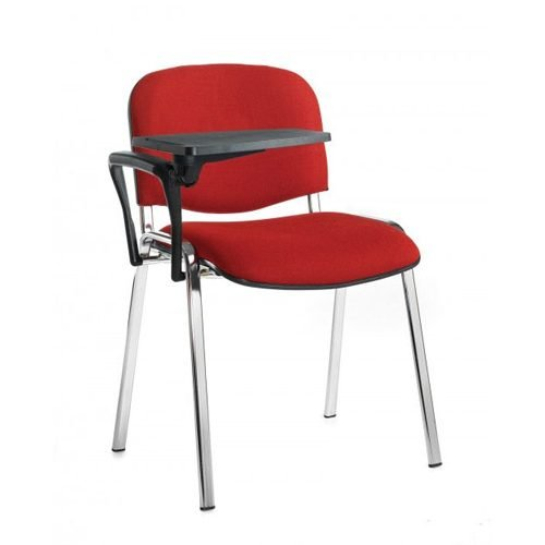 Taurus meeting room chair with chrome-frame and writing tablet Burgundy DAMS TAU40007-BU | Great for lectures | Fusion Office