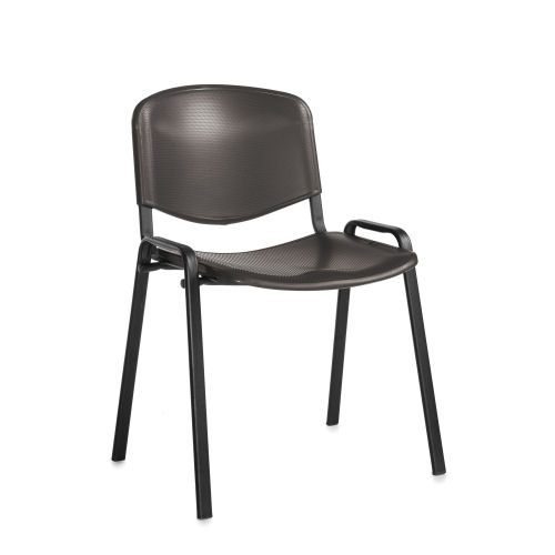 Taurus plastic meeting room stackable chair with no arms Black with black frame DAMS TAU40002-PK | Stackable | Fusion Office