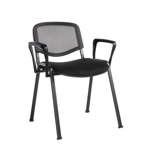 Taurus mesh back meeting room stackable chair with fixed arms Black DAMS TAUMA | Conference Chair | Fusion Office