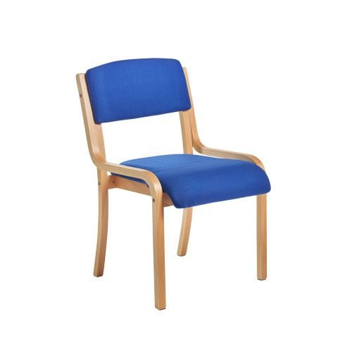 Prague wooden conference chair with no arms Blue DAMS PRA50002-B | Classic design meeting room chair | Fusion Office