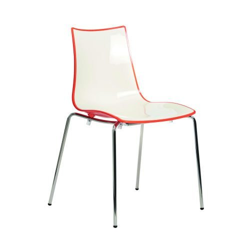 Gecko shell dining stacking chair with chrome legs orange DAMS CH8301-OR   Ideal for canteens & retail locations   Fusion Office