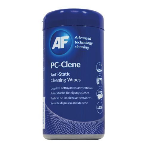 AF PC Clene Anti static cleaning wipes [Pack 100] PCC100 | e sealable tub of 100 impregnated PC cleaning wipes | Fusion Office