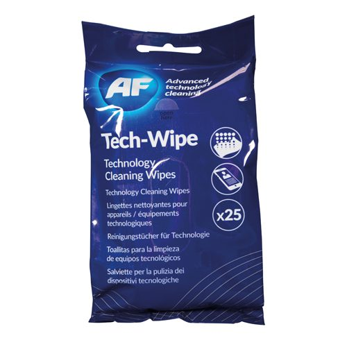 AF Tech Wipes [Pack 25] MTW025P | 25 cleaning wipes for technology devices | Suitable For Tablets & Smartphones | Fusion Office
