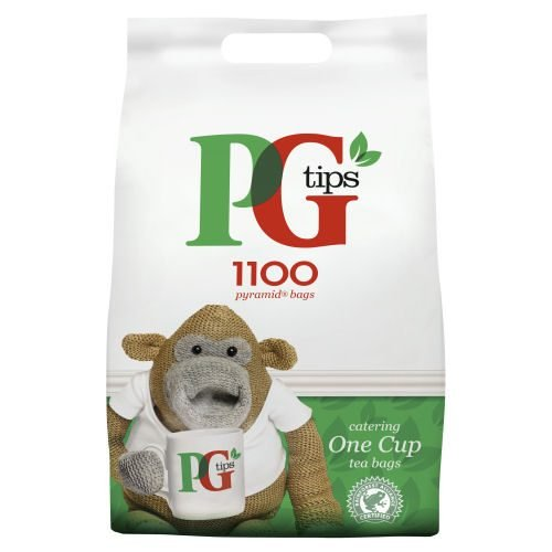 PG Tips Tea Bags One Cup Pyramid [Pack 1100]   1 cup pyramid tea bags for Caterers & Workplace Kitchens   Fusion Office UK