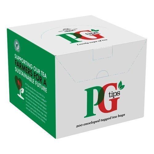 PG Tips Enveloped Tagged Tea Bags [Pack 200]   Enveloped tea bags in a dispenser box   Rainforest Alliance certified   Fusion Office UK