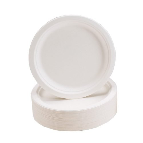 Biodegradable & Compostable Plates 9 Inch [Pack 50] | Rigid construction for easier handling & a professional appearance | Fusion Office UK