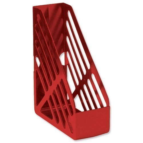 Magazine Rack File Red | Accepts two-ring binders | Extra large capacity for optimum storage | Fusion Office