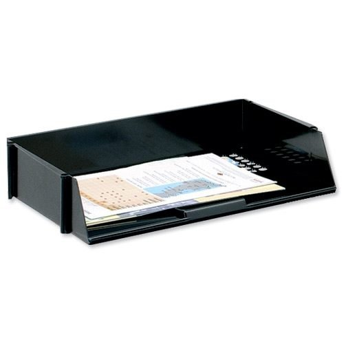 Letter Tray Wide Black A4/Foolscap   Made from high-impact polystyrene   Can be stacked using risers   Fusion Office