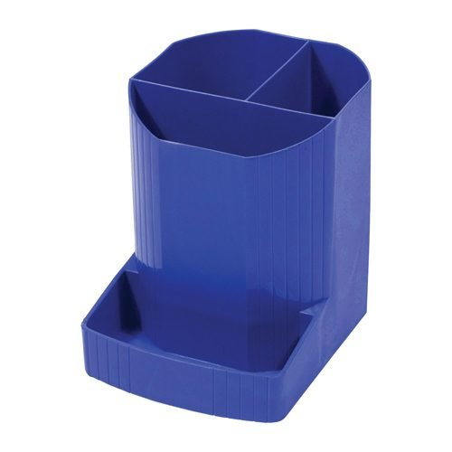 Exacompta Forever Pen Pot Blue 100% Recycled 675101D   4 compartments   Made from orange juice bottles   Fusion Office UK