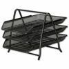Mesh Letter Trays Black 3 Tiers | Sliding trays for easy access | Corrosion & scratch resistant metal | Fusion Office