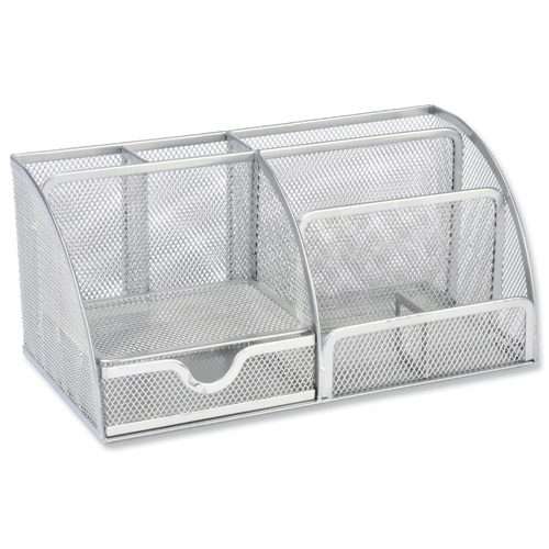 Mesh Desk Tidy Silver | Corrosion and scratch-resistant metal | Modern and stylish mesh desk organiser | Fusion Office