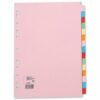 Dividers 15 Part Pack 10 A4 Assorted Colours | 100% recycled | Index Dividers | Fast UK Delivery | Fusion Office