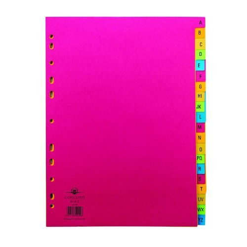 Concord Bright A4 A-Z Index Dividers Punched Card 52499 | Bright colour allows you to organise file content by subject | Fusion Office UK