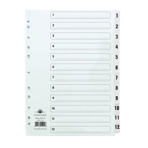 Concord Classic Index A4 1-12 Dividers White Punched Card 01201/CS12 | Premium range of A4 dividers in 150gsm white card | Fusion Office UK