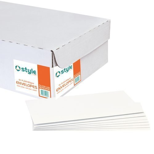 Style Core Envelopes Wallet Press Self Seal Window 90gsm DL White [Pack 1000]