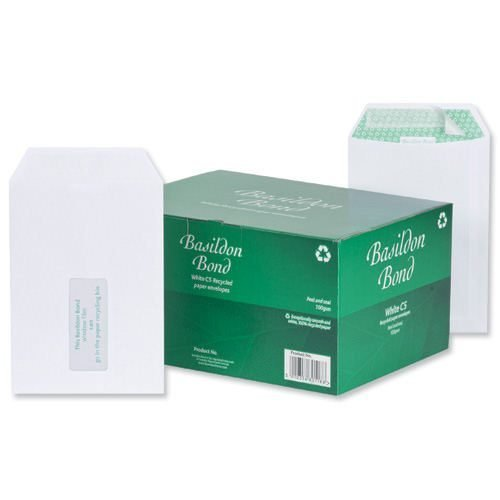Basildon Bond Envelopes C5 Pocket Window White J80119 [Pack 500]   Made from paper certified as FSC Recycled   Fusion Office UK