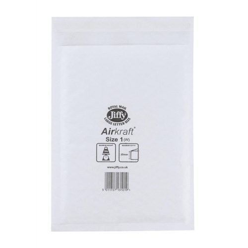 Jiffy Airkraft 1 Postal Bags Bubble-lined No.D/1 White 170x245 JL-1 [Pack 100]   Fusion Office