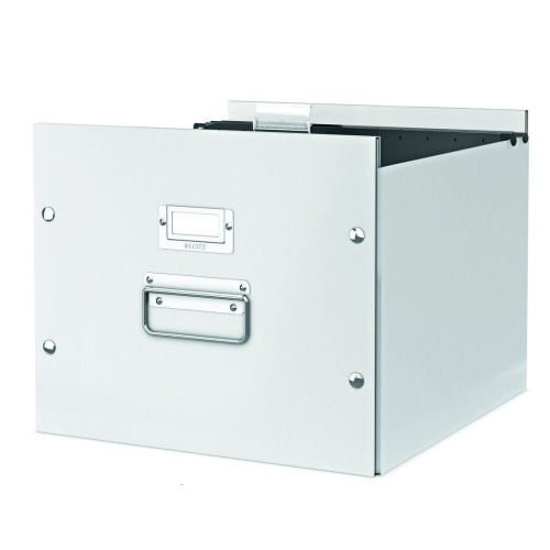 Leitz Archive Box White Click & Store 60460001 | For storing suspension files | Sturdy metal handles & Label Holder | Fusion Office UK