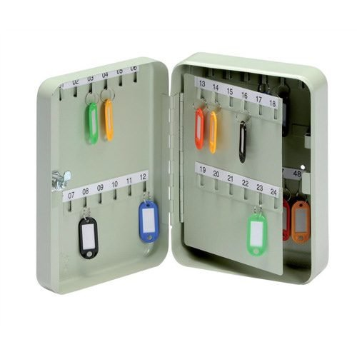 Key Cabinet for 48 Keys Grey | Keeps your keys secure behind a cylinder lock supplied with two keys | Fusion Office