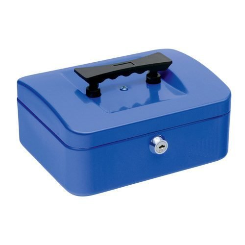 Cash Box 200mm Blue | 8 Inches | Steel structure with a high quality spring lock | Complete with two keys | Fusion Office