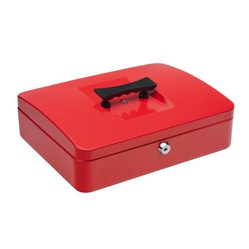 Cash Box 300mm Red | 12 Inches | Steel structure with a high quality spring lock | Complete with two keys | Fusion Office
