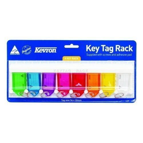 Kevron Standard Key Tags Rack 56x30mm Assorted [Pack 8] ID6TRL | Fusion Office