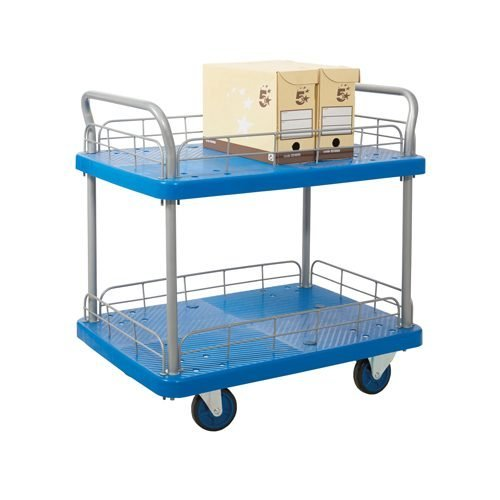 Two Tier Trolley with Wire Surround PPU25Y | Constructed with reinforced polypropylene platform/shelves | Fusion Office UK