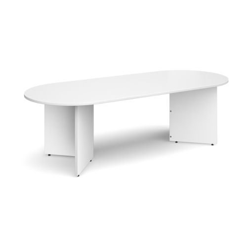 Arrow head leg radial end boardroom table 2400mm x 1000mm White DAMS EB24WH | 1000mm wide with 25mm tops | Fusion Office