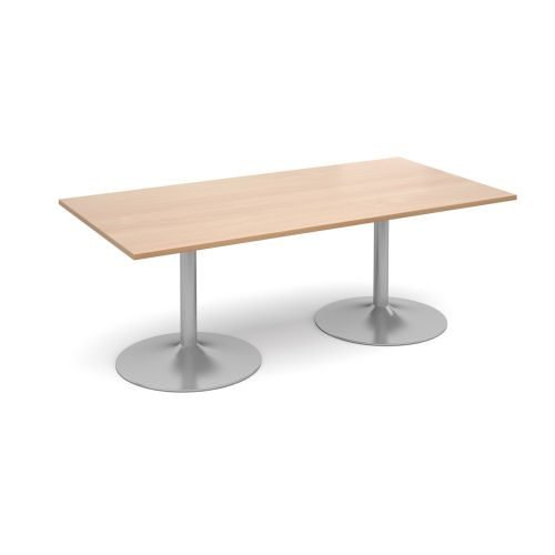 Trumpet-base rectangular boardroom table 2000mm x 1000mm - Silver base beech top DAMS TB20-S-B | With 25mm tops | Fusion Office