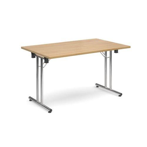 Rectangular folding leg table with chrome legs and straight foot rails 1400x800mm Oak DAMS SFL1400-C-O | Fusion Office