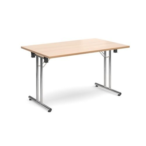 Rectangular folding leg table with chrome legs and straight foot rails 1400x800mm Beech DAMS SFL1400-C-B | Fusion Office