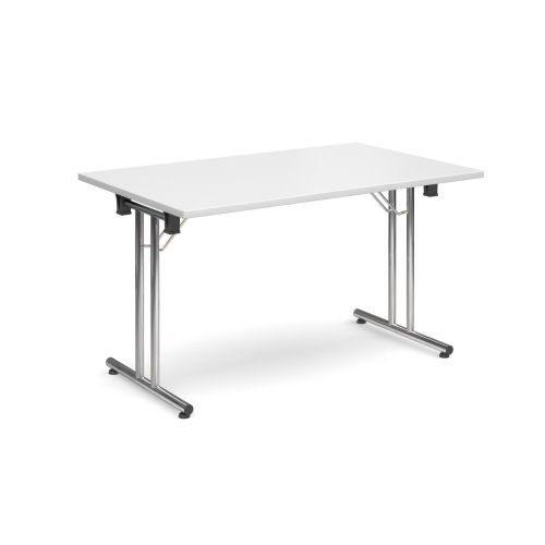 Rectangular folding leg table with chrome legs and straight foot rails 1400x800mm White DAMS SFL1400-C-WH | Fusion Office