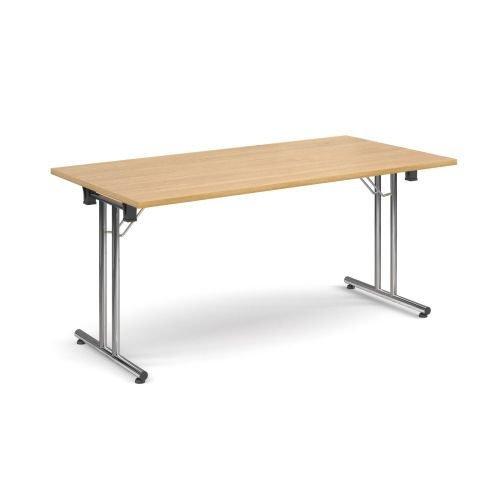 Rectangular folding leg table with chrome legs and straight foot rails 1600x800mm Oak DAMS SFL1600-C-O | Fusion Office