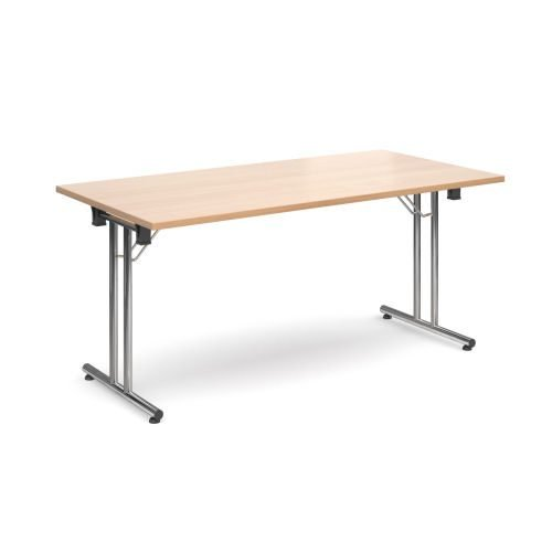 Rectangular folding leg table with chrome legs and straight foot rails 1600x800mm Beech DAMS SFL1600-C-B | Fusion Office